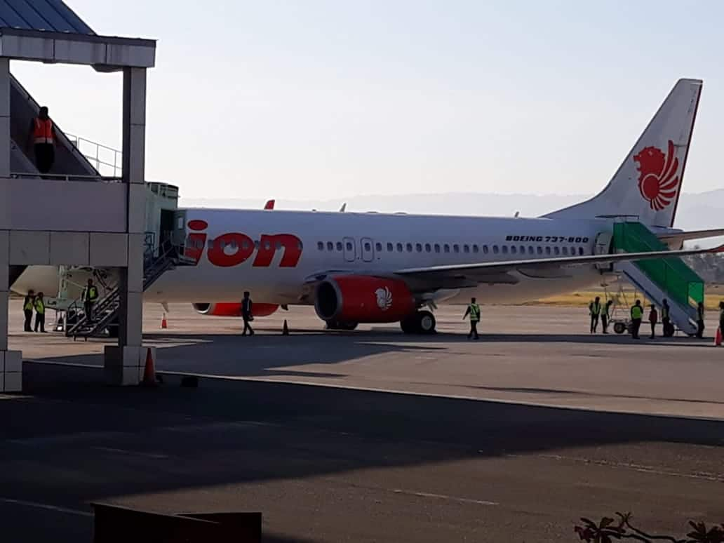Pesawat Lion Air yang mendarat darurat di bandara Gorontalo/ Prosesnews.id