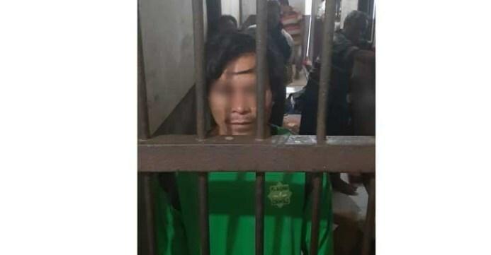 Polres Gorontalo menahan UE alias Usu, terduga pelaku pembunuhan terhadap Basri Kandipa, warga asal Luwuk, Sulteng yang ditemukan tak bernyawa di kebun jagung di Desa Padengo, Limboto Barat. (istimewa)