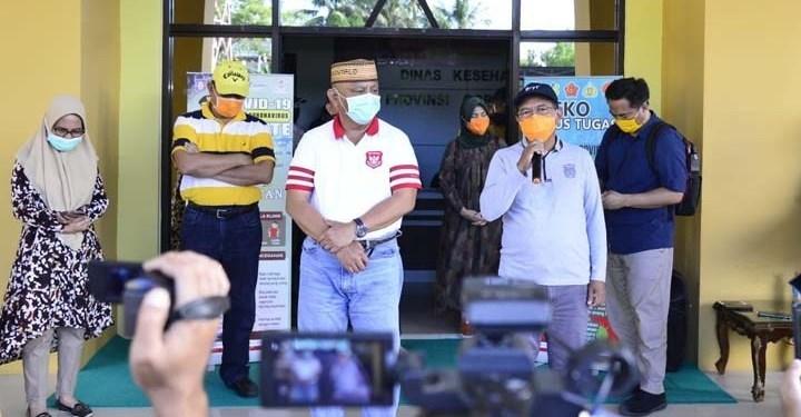 Juru Bicara Gugus Tugas Covid-19 Provinsi Gorontalo, Darda Daraba, menyampaikan hasil pemeriksaan rapid test terhadap 167 jemaah tablig Gorontalo alumni ijtima ulama dunia di Gowa, Sulawesi Selatan, Sabtu (11/4/2020).