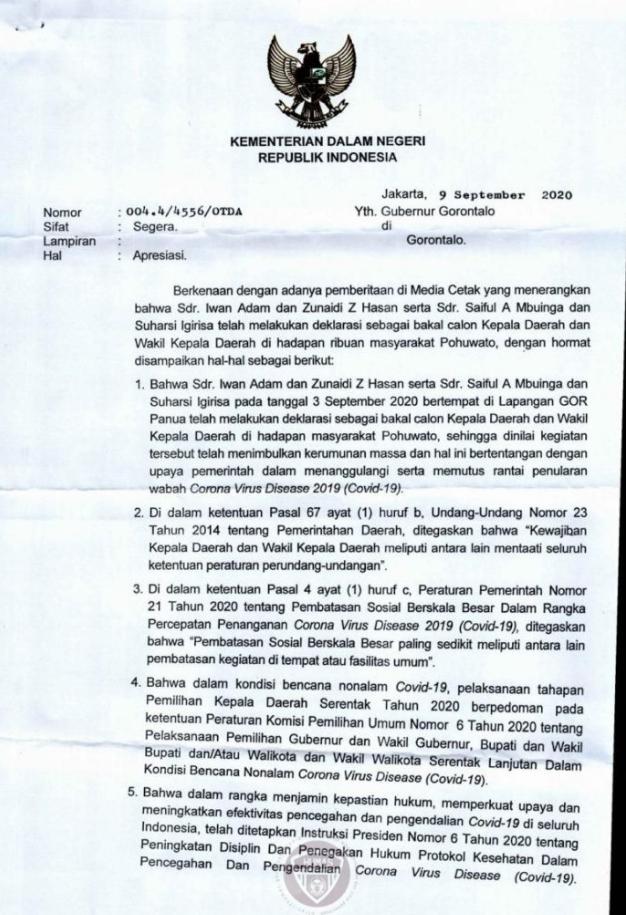 Surat Kemendagri yang mengapresiasi langkah Gubernur Gorontalo untuk menegakkan protokol kesehatan di daerah. (Foto: istimewa).