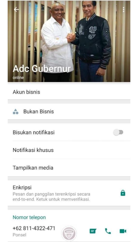Tangkapan layar nomor WhatsApp ajudan gubernur Gorontalo
