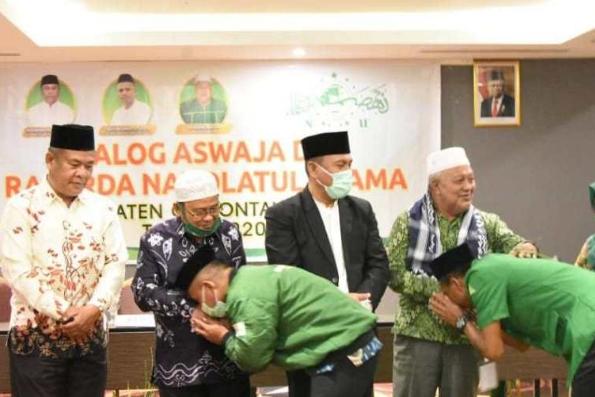 Bupati Gorontalo Utara Indra Yasin menghadiri Rakerda NU Gorontalo Utara, Sabtu (21/11/2020).