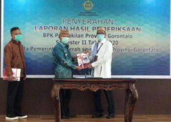Wakil Bupati Pohuwato Amin Haras, saat menerima Laporan Hasil Pemeriksaan BPK Perwakilan Provinsi Gorontalo Semester II Tahun 2020.