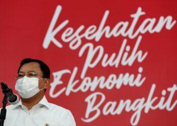 Menteri Kesehatan Terawan Agus Putranto memberikan keterangan pers mengenai kedatangan vaksin Covid-19 di Jakarta, Senin, 7 Desember 2020. Sebanyak 1,2 juta vaksin siap pakai tiba di Bandara Soekarno Hatta, Tangerang, Banten, Minggu 6 Desember 2020 malam dan kemudian dikirim ke PT Biofarma, Bandung.FOTO: Dok.KPCPEN
