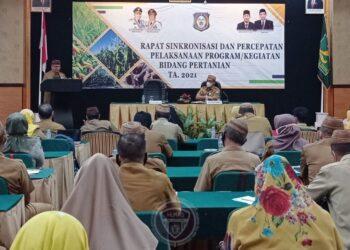 Wagub Gorontalo H. Idris Rahim memberikan sambutan pada pembukaan rapat sinkronisasi dan percepatan pelaksanaan program kegiatan bidang pertanian tahun 2021 di Grand Q Hotel, Kota Gorontalo, Senin (21/12/2020). (Foto : Haris – Humas)