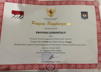 Piagam penghargaaan penilaian LPPD 2018 dari Kemendagri. (Foto: istimewa).