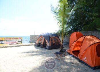 Fasilitas camping ground bagi pengunjung Cabana Resto dan Resort di Pantai Bolihutuo. (Foto: Salman-Humas).