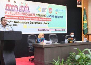 Sekda Gorntalo Utara, Ridwan Yasin menyampaika sambutan pada pelaksanaan Evaluasi Program Germas Lintas Sektor.