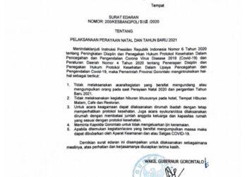 Surat Edaran Gubernur Gorontalo tentang Perayaan Natal 2020 dan Tahun Baru 2021