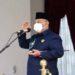 Gubernur Gorontalo Rusli Habibie memimpin Upacara Peringatan Hari Patriotik ke – 79 yang berlangsung di Rumah Jabatan Gubernur Gorontalo, Sabtu (23/1/2021). Foto: Salman.