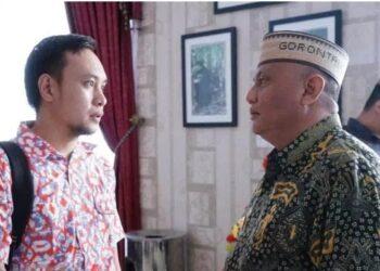 Gubernur Gorontalo Rusli Habibie bersama Jubirsus Novalliansyah Abdussamad. Foto: istimewa