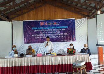 Arahan Bupati Hamim Pou saat sosialisasi dan Launching imolementasi
