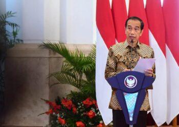 Presiden Joko Widodo hadir secara virtual pada Puncak Peringatan Hari Pers Nasional (HPN) Tahun 2021 dari Istana Negara, Jakarta. Foto: SETPRES.