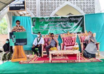 Bupati Pohuwato saat sambutan di acara Milad HMI ke-74 yang dilaksanakan HMI Pohuwato, di Desa Patuhu, Kecamatan Randangan. (05/02/2021). (Foto : Istimewa).