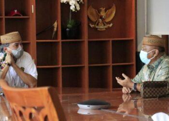 Gubernur Gorontalo Rusli Habibie saat bertandang ke kantor Dirjen Mineral dan Batubaraa Ridwan Djamaluddin di Jakarta, Kamis (11/2/2021). (Foto: Dzakir-BPPG).