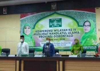 Wagub Gorontalo H. Idris Rahim (tengah) menghadiri Konferensi Wilayah IV Muslimat NU Provinsi Gorontalo di aula IAIN Sultan Amai Gorontalo, Sabtu (20/2/2021). (Foto : Fadli)