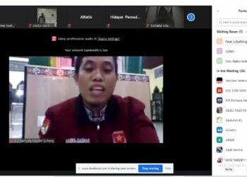 """Ketua Pimpinan Wilayah (PW)) Pemuda Muslim Sulawesi Tengah, Syahril Rachman, saat Webinar """"Pelaksanaan Batuan Sosial Tunai (BST), dan Manfaatnya Bagi Masyarakat di Sulawesi Tengah,"""" Senin, (08/02/2021)."""