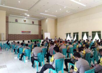Apel bersama TNI/Polri berlangsung di Gedung Kasmat Lahay, Limboto, Kabupaten Gorontalo. (Foto : Istimewa).