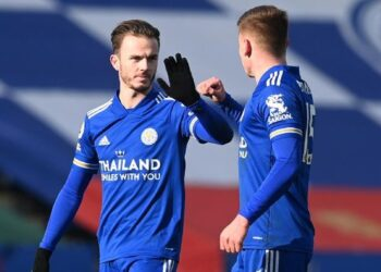 James Maddison mengejek soal krisis pemain Liverpool. (Pool via REUTERS/MICHAEL REGAN).