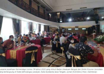 Suasana sosialisasi Permendagri nomor 78 tahun 2020 yang diikuti Badan Kesatuan Bangsa dan Politik Provinsi Gorontalo yang berlangsung di Hotel Adhiwangsa Laweyan, Kota Surakarta Jawa Tengah, Jumat (5/3/2021).Foto: (Istimewa)
