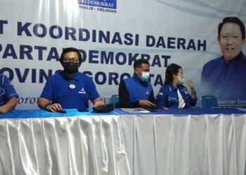 Wakil Ketua DPD Partai Demokrat, Provinsi Gorontalo, Erwinsyah Ismail, S Ikom menggelar konferensi