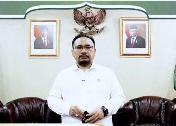 Menteri Agama H Yaqut Cholil Qoumas menghadiri sekaligus memberikan sambutan pada acara wisuda Sarjana (S1) dan Magister (S2) IAIN Sultan Amai Gorontalo Tahun Akademik 2020/2021 secara virtual, Selasa (30/03/2021). (Foto : Istimewa)