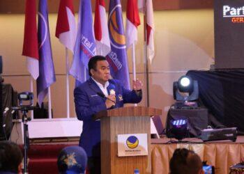 Rachmat Gobel saat memberikan sambutan sekaligus membuka kegiatan Rapat Koordinasi Wilayah Nasdem Gorontalo
