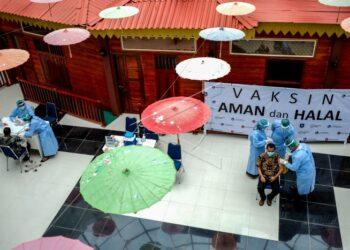 Vaksinasi Covid-19 di Pangkal Pinang. (Foto : ANTARA).
