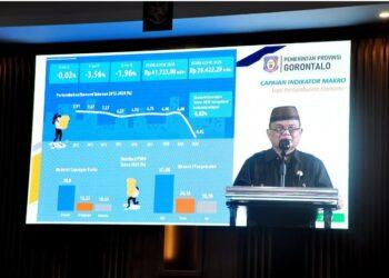 Wagub Gorontalo H. Idris Rahim memberikan sambutan pada pembukaan Musrenbangda tingkat Provinsi Gorontalo tahun 2021 di Hotel Aston, Kota Gorontalo, Jumat (23/4/2021). (Foto : Haris)