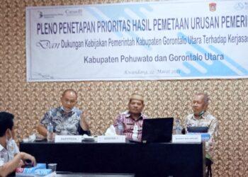 Pleno Penetapan Prioritas Hasil Pemetaan Urusan Pemerintahan dan Dukungan Kebijakan Pemerintah Kabupaten Gorontalo Utara Terhadap Kerjasama Daerah. (Foto : Istimewa)