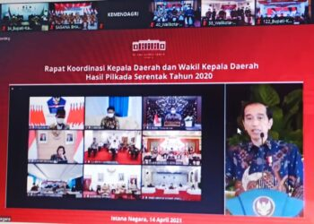 Rapat koordinasi kepala daerah dan wakil kepala daerah serentak tahun 2020 yang di pimpinan langsung oleh Presiden Republik Indonesia, Jokowi Dodo. (Foto : Istimewa)