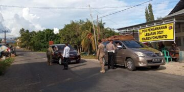 Penjagaan di Pos perbatasan Pohuwato-Boalemo. (Foto : Iskandar)