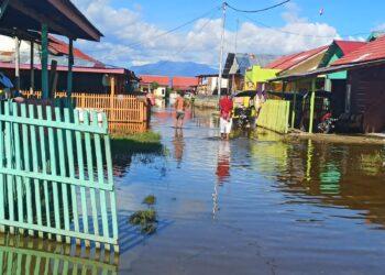 Halam rumah warga yang tergenang air