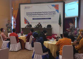 Workshop pendampingan penilaian kepatuhan terhadap standar pelayanan publik Tahun 2021 yang diikuti oleh Bagian Organisasi Dan Tata Laksana, Dinas Infokom, Dinas PTSP, Kabupaten Pohuwato, Boalemo, Bone Bolango, Gorontalo, dan Gorontalo Utara. (Foto ; Istimewa)
