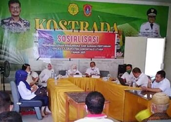 Sosialisasi pembangunan prasarana dan sarana pertanian oleh Dinas Tanaman Pangan Hortikultura dan Perkebunan (TPHP) Gorontalo Utara terkait Rehabilitasi Jaringan Irigasi Tersier (RJIT). (Foto : Istimewa)