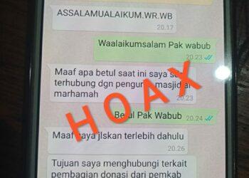 Tangkapan layar Hp seseorang yang dihubungi oleh oknum yang mengatasnamakan Wakil Bupati Kabupapten Gorontalo.