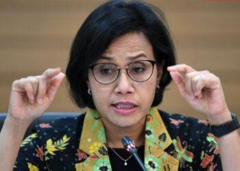 Menteri Keuangan Sri Mulyani saat berbicara di Komisi XI di Gedung DPR RI, Jakarta.