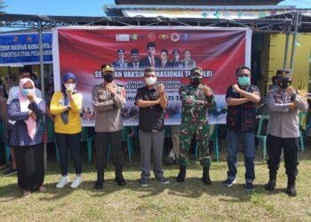 Serbuan Vaksinasi Nasional TNI/Polri, dalm rangka memperingati hari puncak HUT Bhayangkara ke 75. (Foto: istimewa)