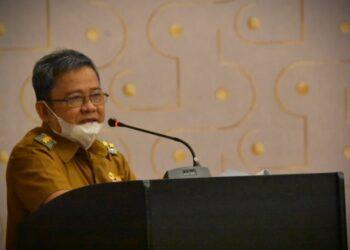 Bupati Gorontalo Utara, Indra Yasin, ketika membuka Bimtek SPIP. (Foto : Istimewa)