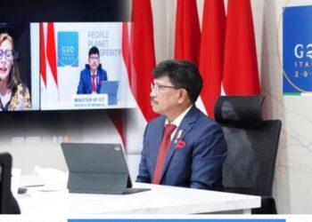 Menteri Komunikasi dan Informatika, Johnny G. Plate saat memberi sambutan pembuka dalam Pertemuan Menteri Digital G20, secara virtual dari Jakarta, Kamis (5/8/2021). Sumber: Humas Kominfo