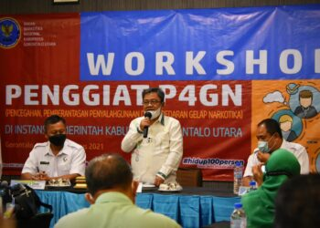 Bupati Gorontalo Utara, Indra Yasin, menghadiri dan membuka Workshop P4GN. (Foto : Istimewa)